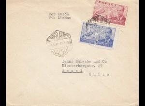 Spanien: 1946: Madrid als Luftpost nach Basel