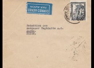 Spanien: 1936: Luftpost nach Aarau/Schweiz