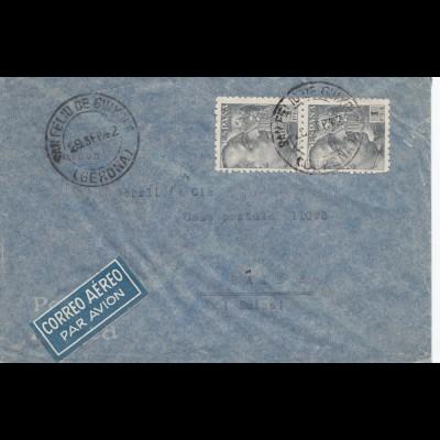 Spanien: 1942: Luftpost Gerona nach Basel