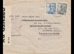 Spanien: 1941: Brief nach London, Zensur