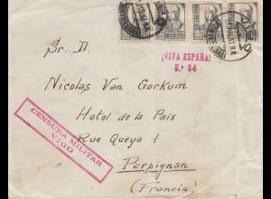Spanien: 1937: Vigo nach Perpignan/Frankreich, Zensur