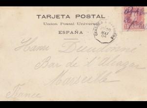 Spanien: 1904: Ansichtskarte Port Bou nach Marseille