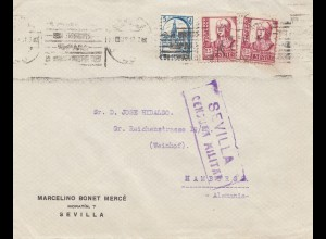 Spanien: 1937: Sevilla nach Hamburg, Zensur