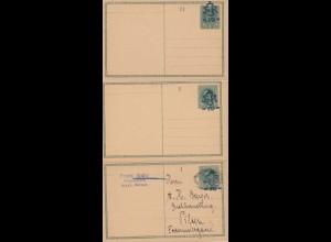 Tschecheslowakei: 1919: 3x Ganzsache P2 II, 2x ungebraucht