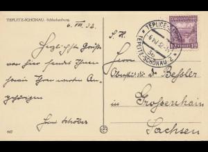 Tschecheslowakei: 1932 Ansichtskarte Teplice nach SAchsen