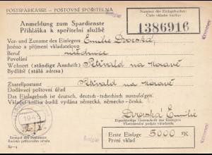 Tschecheslowakei: 1945: Postsparkasse, Anmeldung Petrvald