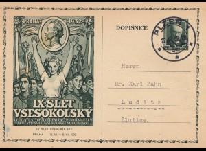 Tschecheslowakei: 1932: Ganzsache Pilzen nach Ludlitz