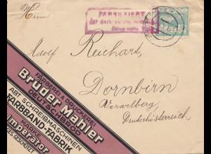 Tschecheslowakei: Brief Deutschbrod nach Dornbirn, Färberei, Druckerei