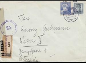 Tschecheslowakei: 1946: Einschreiben Ondrejovice nach Wien, Zensur
