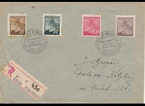Tschecheslowakei: 1945: Einschreiben Ceske Verlenice mit Einlieferungsschein
