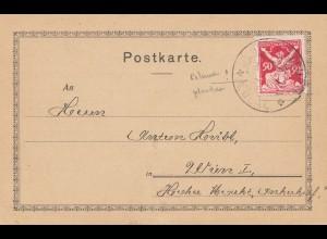 Tschecheslowakei: 1911 Eulau nach Wien, Plattenfehler