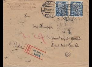 Tschecheslowakei: 1924: Einschreiben Prag nach Constantinopel
