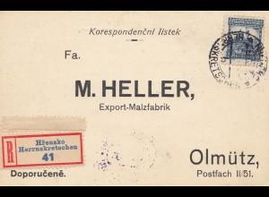 Tschecheslowakei: 1930: Einschreiben Herrnskretschen nach Olmütz