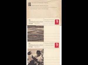 Tschecheslowakei: 1948: 8x Ganzsachen, die Serie mit Umschlag