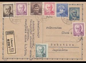Tschecheslowakei: 1946: Einschreiben Karte Liberec nach Subotica