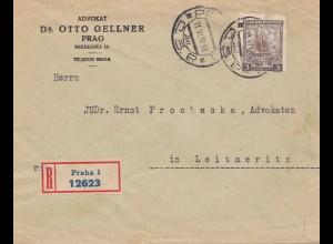 Tschecheslowakei: 1930: Einschreiben Prag nach Leitmeritz