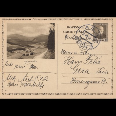 Tschecheslowakei: 1936: Ganzsache Asch nach Gera