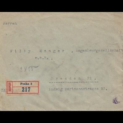 Tschecheslowakei: 1918: Einschreiben Prag nach Dresden, Zensur