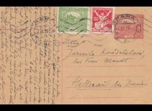 Tschecheslowakei: 1920: Ganzsache Prag nach Helleau/Dresden