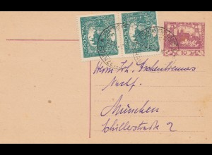 Tschecheslowakei: 1920: Ganzsache nach München