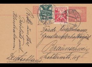 Tschecheslowakei: 1920: Ganzsache Prerov nach Braunschweig