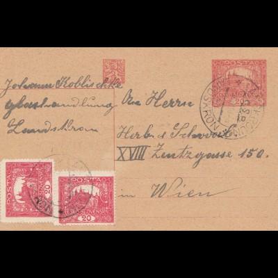 Tschecheslowakei: 1920: Ganzsache nach Wien