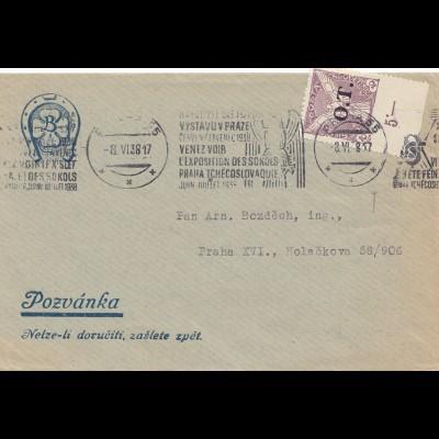 Tschecheslowakei: 1938: Brief aus Prag, Marke mit Teilzähnung