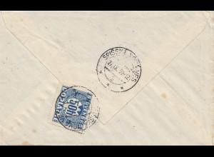 Tschecheslowakei: 1939: Brief aus München nach Spisser, Nachporto
