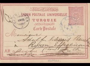 Türkei: 1895: Ganzsache nach Zürich
