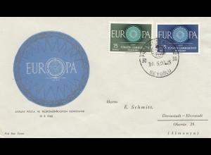 Türkei: 1950: Euopa Marken nach Darmstadt