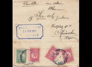 Türkei: 1911: Muster ohne Wert nach München