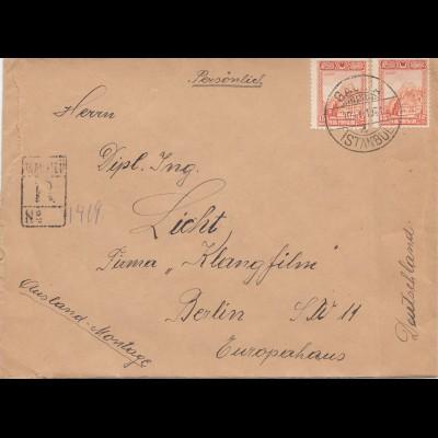 Türkei: 1931: Einschreiben von Galata nach Berlin