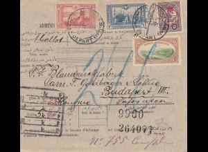 Türkei: Paketkarte nach Budapest, Nr. 239 u.a.