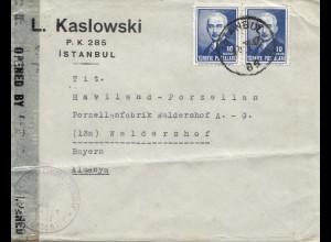Türkei: 1947: Instanbul nach Waldershof, Zensur