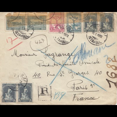 Türkei: 1932: Einschreiben Istanbul nach Paris, geöffnet