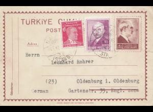 Türkei: 1947: Ganzsache nach Oldenburg