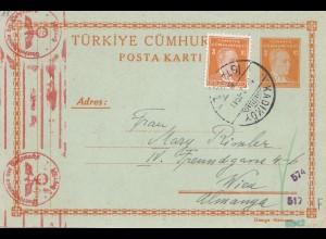 Türkei: 1941: Ganzsache Kadiköy nach Wien, OKW Zensur
