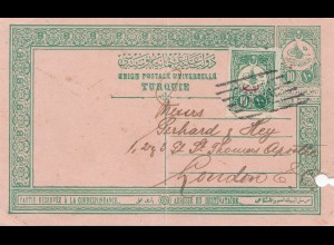Türkei: 1910 Ganzsache nach London