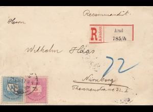 Ungarn: 1891: Einschreiben Arad nach Nürnberg