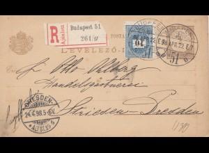 Ungarn: 1922: Einschreiben Ganzsache Budapest nach Dresden