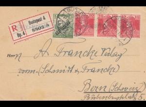 Ungarn: 1918: Einschreiben Ganzsache Budapest nach Bern