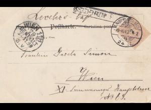 Ungarn: 1899: Postkarte mit Lied nach Wien