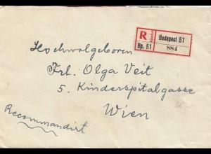 Ungarn: 1925: Einschreiben Budapest nach Wien