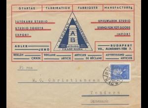 Ungarn: 1937: Brief Budapest nach Dänemark