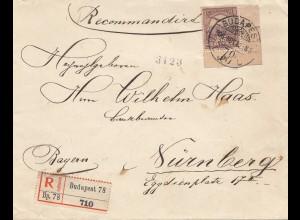 Ungarn: 1906: Einschreiben Budapest, Nürnberg, Eckrand-Marke