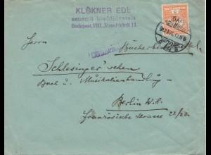 1915: Budapest nach Berlin, Zensur