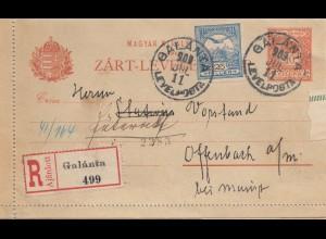 Ungarn: 1909: Einschreiben Galanta nach Offenbach, Ganzsache