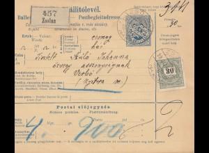 Ungarn: 1899: Paketkarte nach Verbo