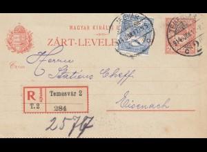 Ungarn: 1914: Ganzsache Einschreiben Temesvar nach Eisenach