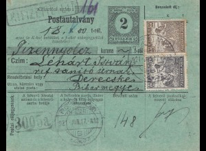 Ungarn: 1921: Paketkarte, Ganzsache nach Debreceni